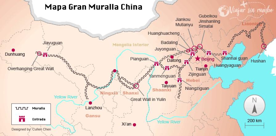 mapa gran muralla china