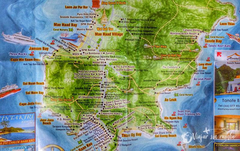 mapa koh tao